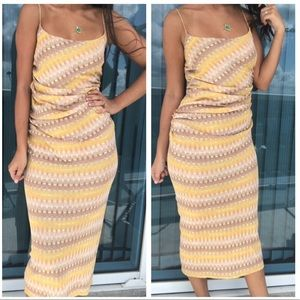 MISSONI nude yellow chevron stripe midi dress
